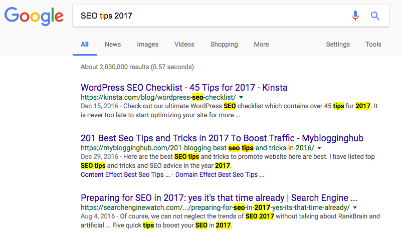 SEO Software - Match Words in SERPs
